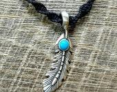 Feather Turquoise Pewter Pendant Hemp Necklace