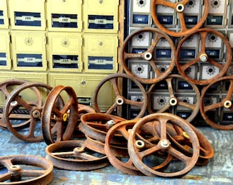 Vintage Industrial Cast Iron Wheels / Pulleys: Metal Salvage Parts -- Farm Cart, Barn Wagon, Ranch Tractor, Factory Machine, Steampunk Gizmo