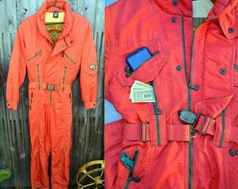 71550522c1f0a Vintage Red EMMEGI Ski Snowsuit: Rad Onesie Unisex Snowmobile, Downhill  Skiing or Snowboarding Winter Jumpsuit -- Belted, Excellent Cond.