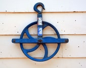 5 Curved Spoke Rigging Pulley Large Reclaimed Industrial Salvage Factory or Barn Hoist Blue Cast Iron Hanging Wheel with Hook