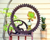 Huge Rustic Industrial Cast Iron Gear Wheel Sprocket Large Round Metal 2-Foot Heavy Machine Part Farm Ranch Factory Salvage Gizmo