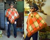 Orange Green Plaid Wool Poncho Large Bright Multicolor Tartan Scarf Shawl Throw Outerwear Winter Wrap - Fringed Edges, Exc. Cond.
