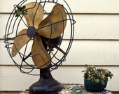 Antique Brass 4 Blade quot Signal Electric quot Fan Large (17 quot diameter) Industrial Oscillating Tabletop or Desk Fan with Cast Iron Base Works