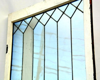 e9b0bf261459 Antique Geometric Clear Glass Window -- 32 Panes + Sturdy Wooden Frame   Vintage Church   Stained Glass Style Architectural Salvage