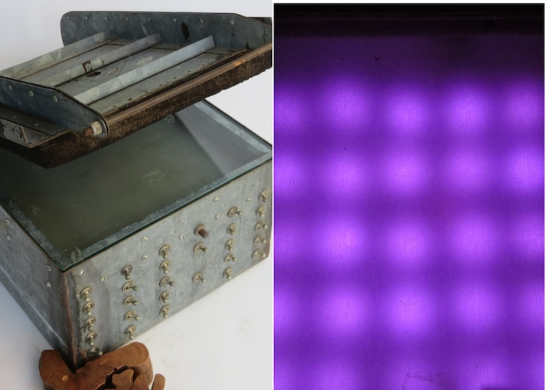 Rare Homemade UV LED PCB Exposure Unit: 28 Switch Steel Cabinet Box -  Photographic Etching Printed Circuit Board Developer, 5x5 Light Grid