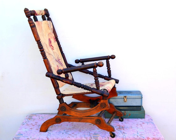 Enjoyable Antique Victorian Platform Rocker Rocking Chair Vintage Turned Wood Eastlake Chair With Floral Barkcloth Casters Works Perfectly Gmtry Best Dining Table And Chair Ideas Images Gmtryco