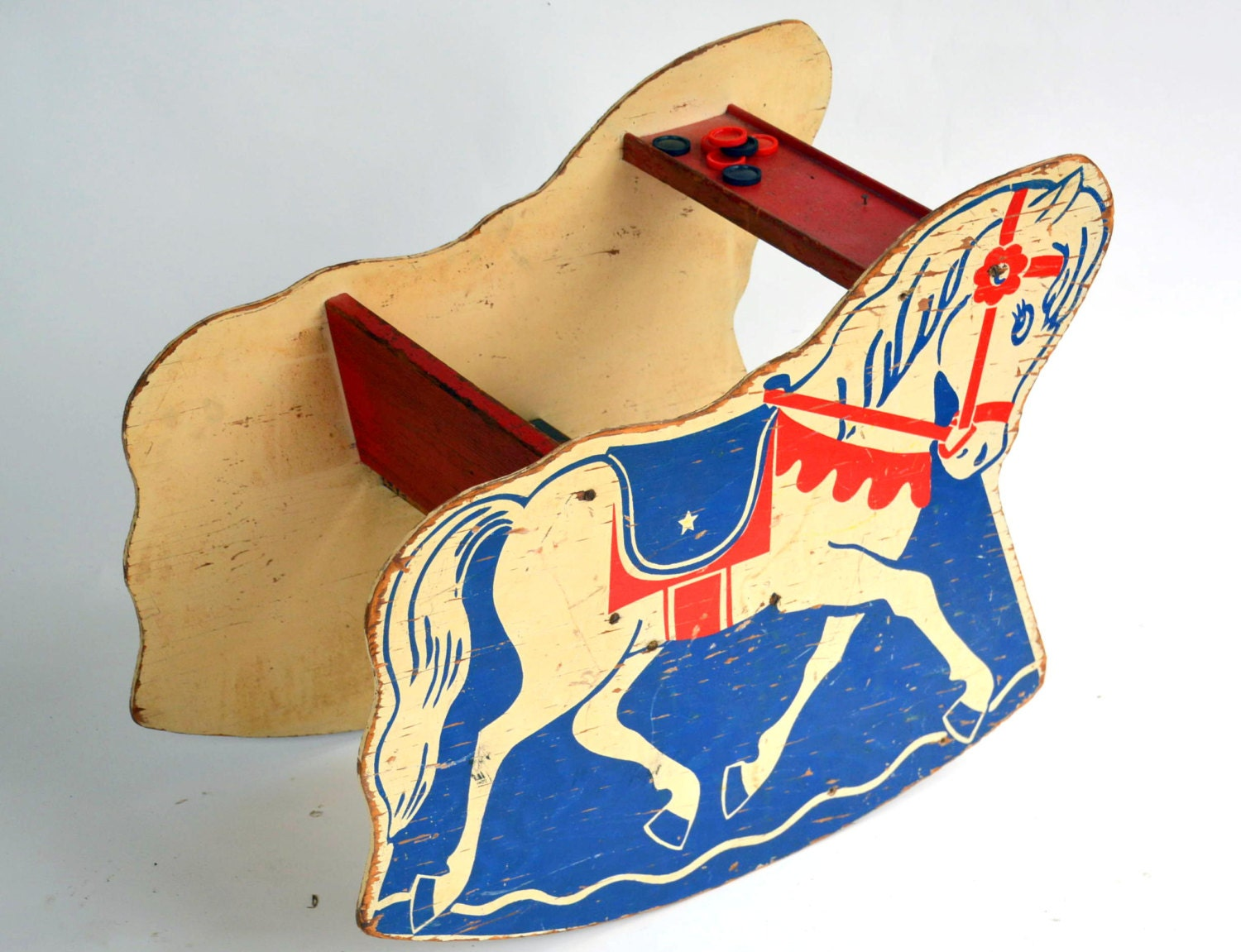 Antique Wooden Rocking Horse Chair: Rustic Kids Circus