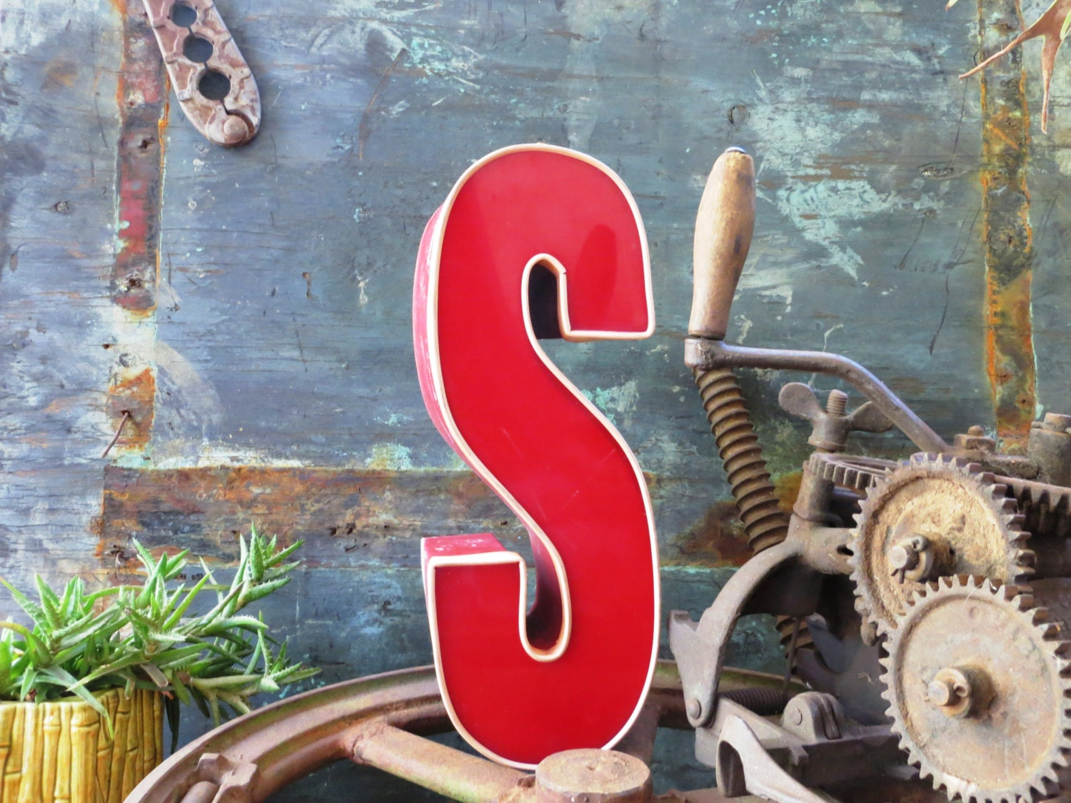 Vintage Marquee Sign Letter Capital S Tall Skinny Red