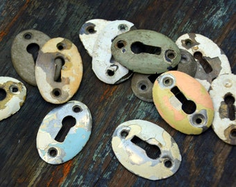 Antique Keyhole Escutcheon Plates Set, One Dozen: Instant Collection of Rustic Oval Metal Key Shields -- Convex, Chippy Paint, Steampunk,