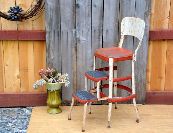Outstanding Vintage Industrial Cosco Kitchen Step Stool Chair Rustic Red White Steel Farmhouse Pantry Footstool Kitchen Stepstool Ladder And Seat Spiritservingveterans Wood Chair Design Ideas Spiritservingveteransorg