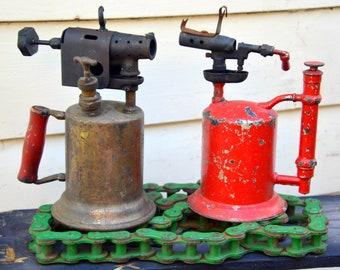 Vintage Rustic Blow Torch Flamethrowers Pair: Red & Brass Industrial Hand Tools
