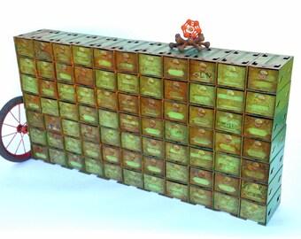 Vintage Industrial Modular Organizer Cabinet: Rustic Steel 77 Drawer Green  Parts Bin Storage Unit