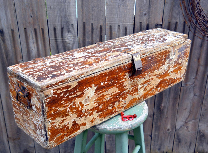 Rustic Antique Wooden Carpenters Toolbox Long White Vintage Industrial Tool Storage Chest Trunk Lovely Distressed Chippy Paint