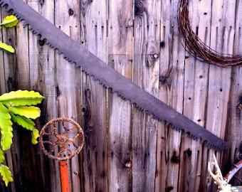 "HUGE 63"" Two Man Wide Belly Lumberjack Crosscut Saw: Serrated Rustic Industrial Steel Logging Tool with Dark Patina -- Great Wall Hanging"