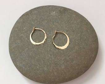Tiny Gold Hoops, Petite Gold Hoops, Delicate Gold Hoops, Small Gold Hoops, 14k Hammered Hoop Earrings, Simple Gold Hoops, 14k Gold Hoops