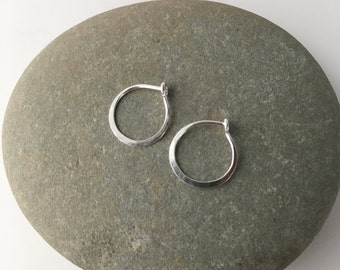 Silver Hoop Earrings, Tiny Hoop Earrings, Delicate Silver Hoops, Small Silver Hoops, Hammered Hoops, Hammered Hoop Earrings