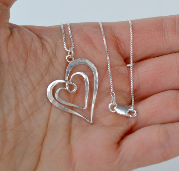 62b3cb8c9006f Silver Heart Pendant, Double Heart Pendant, Silver Heart Necklace, Hammered  Heart Pendant, Simple Heart Pendant, Two Heart Pendant