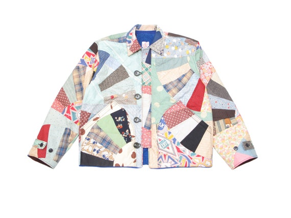 HAND MADE fan quilt utility jacket