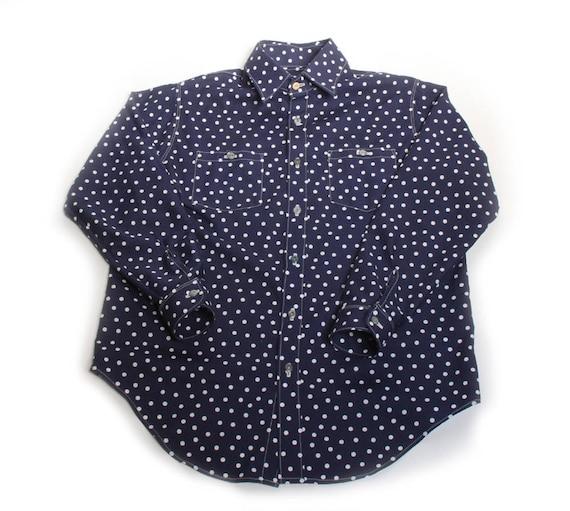 HAND MADE indigo polk dot work shirt