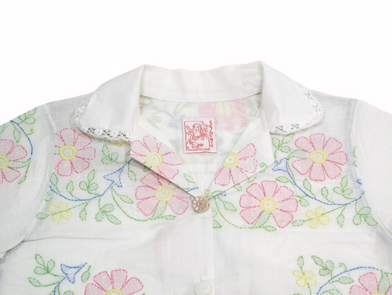HAND MADE womens embroidered table cloth shirt