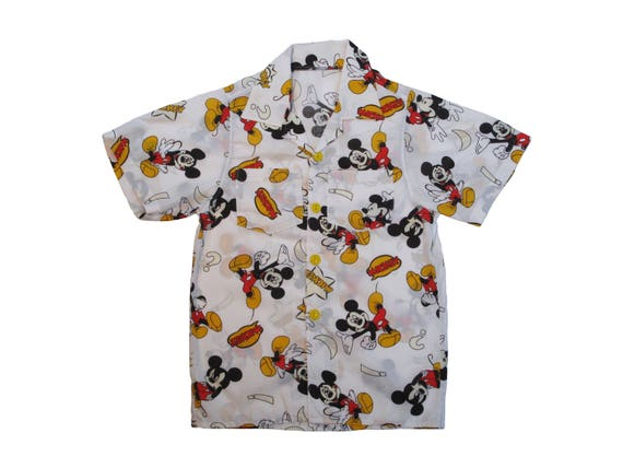 HAND MADE Mickey Mouse aloha shirt