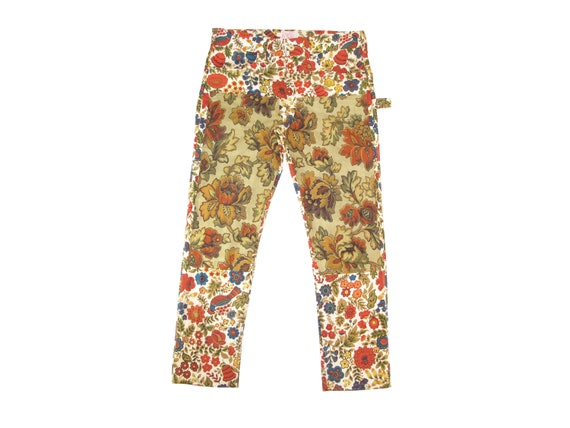 HAND MADE floral double front painters pants