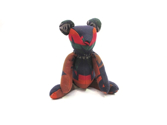 HAND MADE Pendleton remnant teddy bear