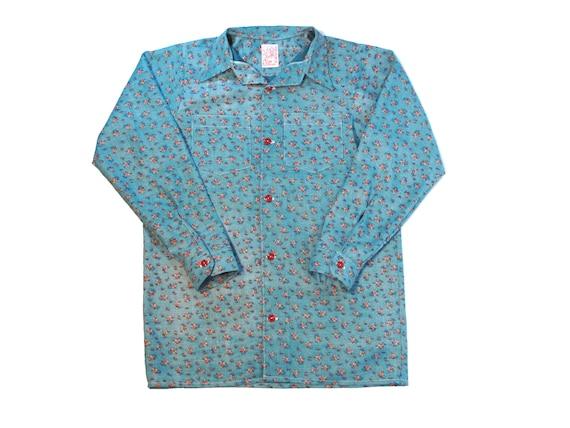 HANDMADE inside out floral open collar shirt