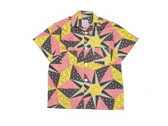 printed quilt pattern loop collar shirt