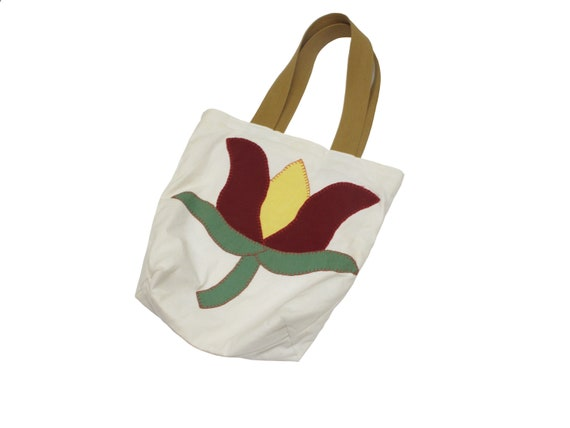 HAND MADE tulip quilt top book tote