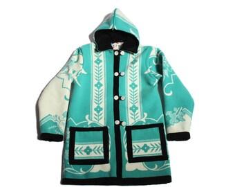 HAND MADE hooded blanket coat