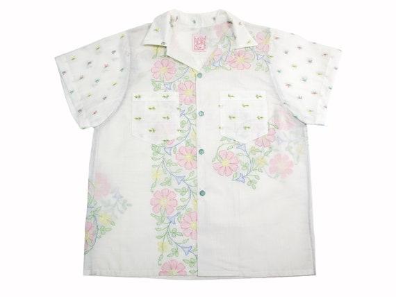 HAND MADE embroidered linen aloha shirt