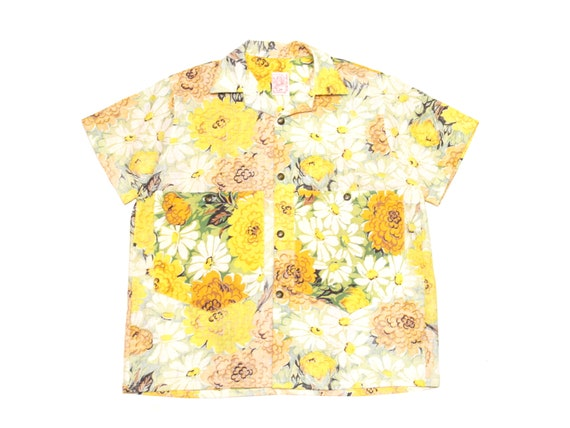 HAND MADE floral feed sack camp shirt
