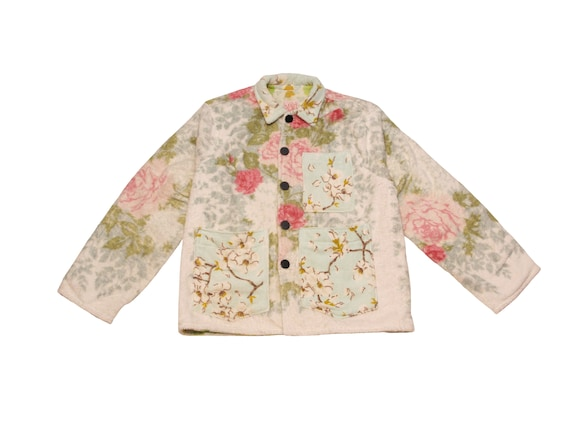 HAND MADE floral terry cloth chore jacket