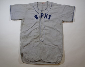 vintage Mitchell and Ness cotton flannel baseball jersey