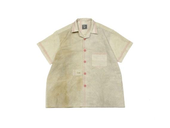 HAND MADE monogrammed linen tea towel shirt