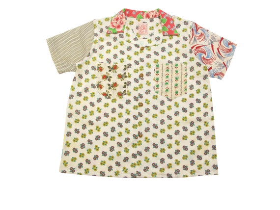 HAND MADE feed sack camp shirt