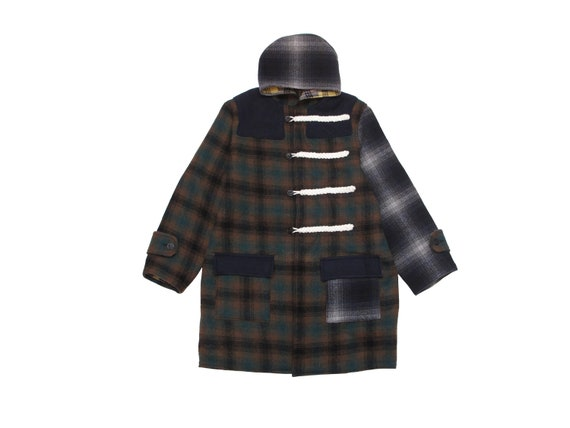HAND MADE multiple plaid duffle coat