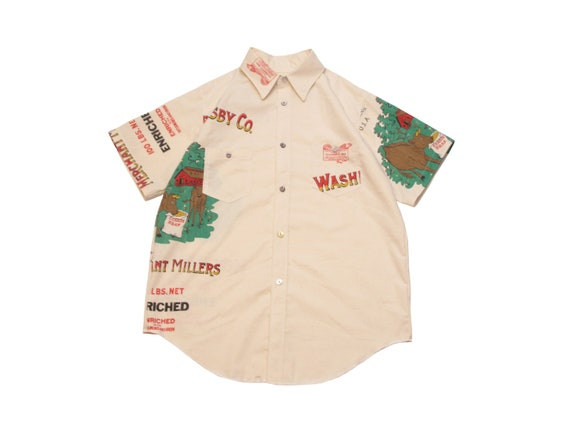 HAND MADE feed sack work shirt