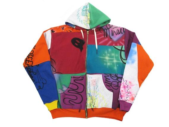 "HAND MADE ""erased"" hooded sweatshirt"