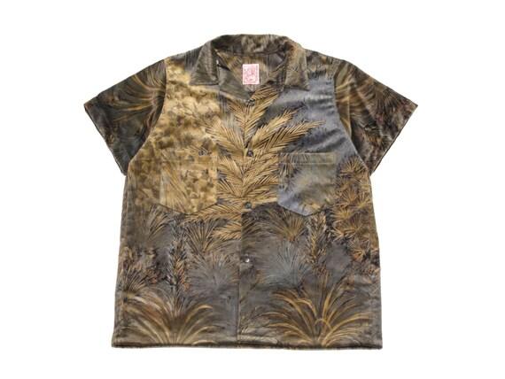 HAND MADE impressionist velvet camp shirt