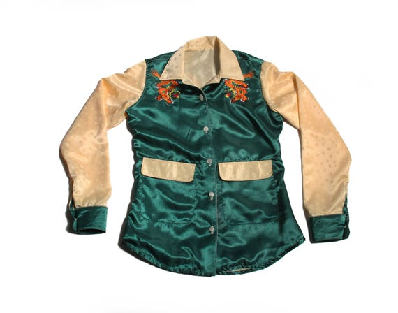 HAND MADE embroidered satin dragon jacket