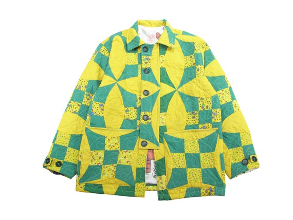 HAND MADE cathedral windows quilt utility jacket