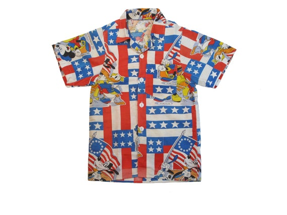 HAND MADE Mickey Mouse Bicentennial aloha shirt