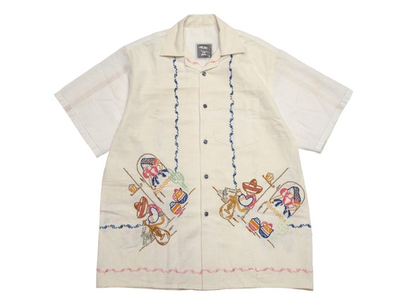 antique embroidered table cloth shirt