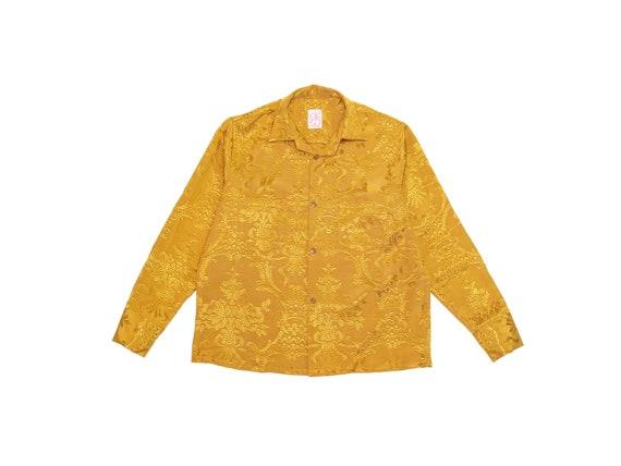 HAND MADE silk brocade open collar shirt