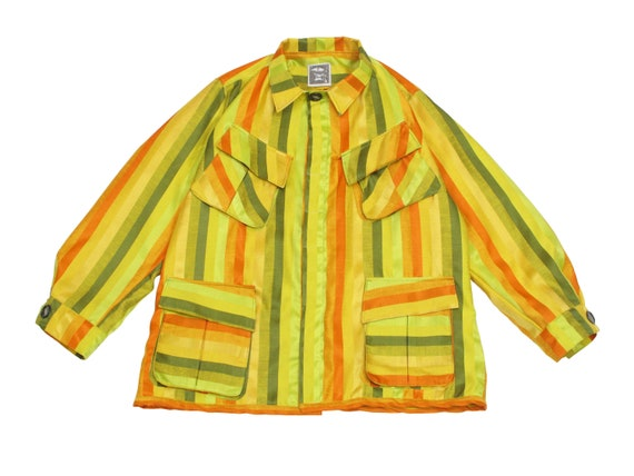 HAND MADE striped silk jungle shirt