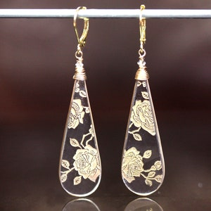 Tiffin Cherokee Rose Etched Glass Earrings Jewelry Vintage