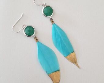Green Onyx with Gold Mint Feather Earrings, Mint Feather dangle Earrings, Oriental Statement Earrings Hero, Statement Jewelry
