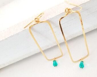 Modern Earrings, Rectangle Dangle Earrings, Green drop Gold earrings